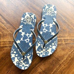 Tory Burch flip flops blue floral